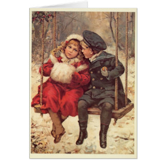 Children on a Swing Christmas Card