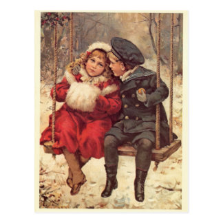 Children on a Swing Postcard
