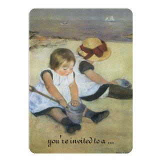 Children on Beach by Cassatt, Vintage Baby Shower 5x7 Paper Invitation Card
