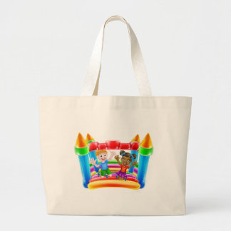 Children on Bouncy Castle Large Tote Bag