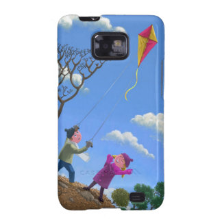 Children on hill flying kite galaxy SII cases