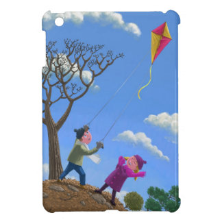 Children on hill flying kite iPad mini case