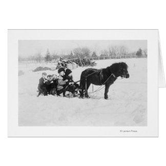 Children on Pony Drawn Sled Photograph Card