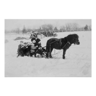 Children on Pony Drawn Sled Photograph Poster