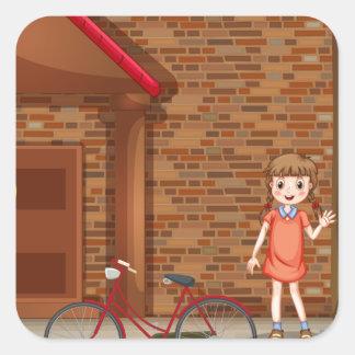 Children on street square sticker
