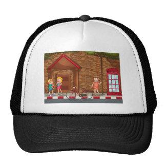 Children on street trucker hat