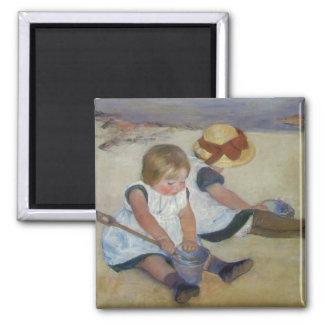 Children on The Beach, Mary Cassatt 2 Inch Square Magnet
