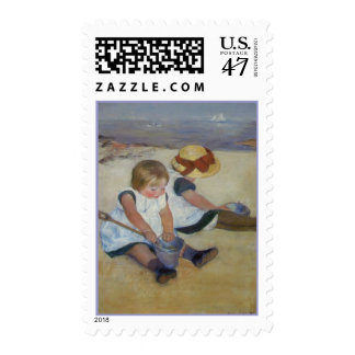 Children on The Beach, Mary Cassatt Postage Stamps