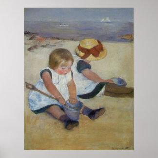 Children on The Beach, Mary Cassatt Poster