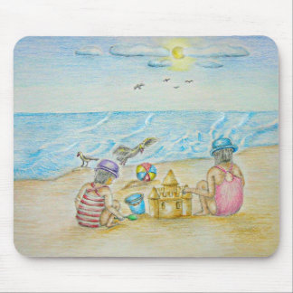 children on the beach mouse pad