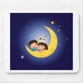 Children on the moon with a cat mouse pad