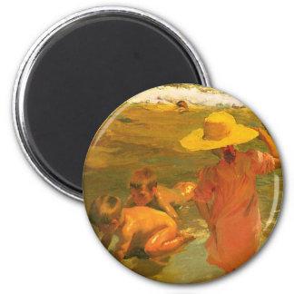 Children on the Sea-shore - Joaquín Sorolla 2 Inch Round Magnet