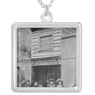 Children outside John Pounds's workshop Silver Plated Necklace