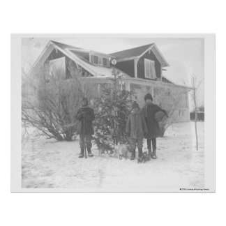 Children outside with Christmas tree Poster