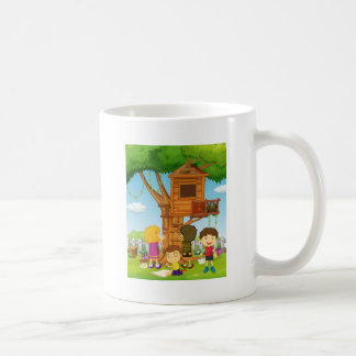 Children painting treehouse in the park coffee mug