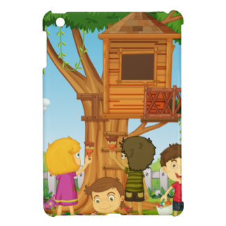 Children painting treehouse in the park iPad mini cover