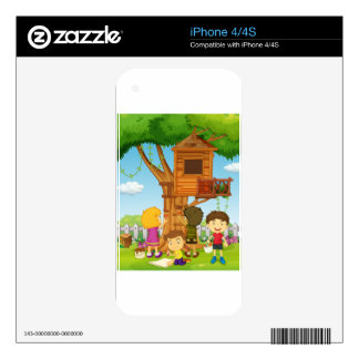 Children painting treehouse in the park iPhone 4 skins
