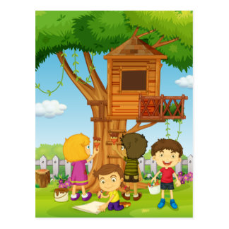 Children painting treehouse in the park postcard