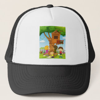 Children painting treehouse in the park trucker hat