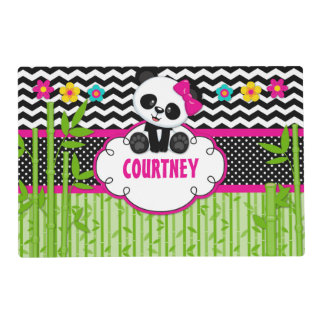 Children Panda Bear Monogram Personalized Name Placemat