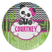 Children Panda Bear Monogram Personalized Name Plate