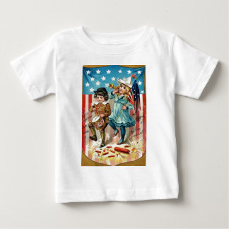 Children Parade American Flag Vintage 4th of July Baby T-Shirt