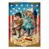 Children Parade American Flag Vintage 4th of July Card