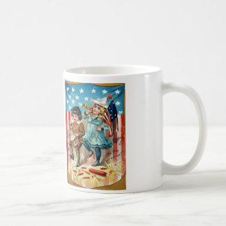 Children Parade American Flag Vintage 4th of July Coffee Mug