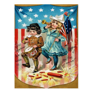 Children Parade American Flag Vintage 4th of July Postcard