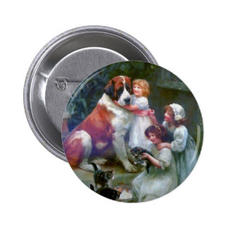 Children Pets Dog Cats Painting 2 Inch Round Button
