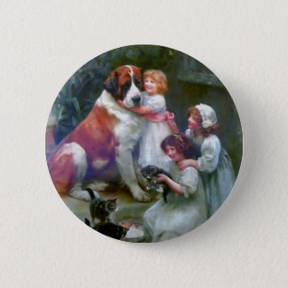 Children Pets Dog Cats Painting Button