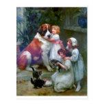 Children Pets Dog Cats Painting Postcard