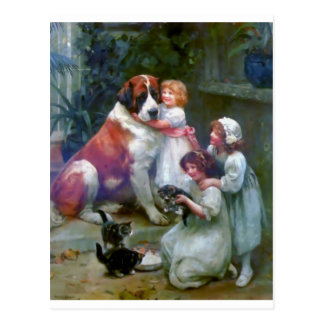 Children Pets Dog Cats Painting Postcard