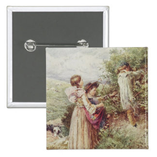 Children picking blackberries, 19th century pinback button