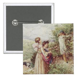Children picking blackberries, 19th century pinback button