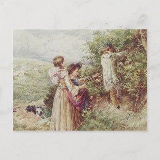 Children picking blackberries, 19th century postcards