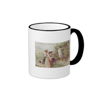 Children picking blackberries, 19th century ringer mug