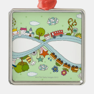 Children Playing 2 Square Metal Christmas Ornament