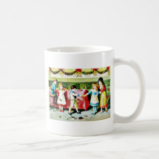 Children playing and eating in a dinner hall coffee mug