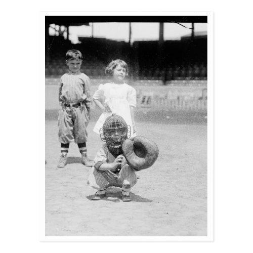 Children Playing Baseball Postcard