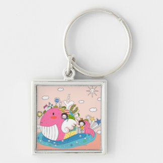 Children playing by fish in pond keychain