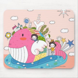 Children playing by fish in pond mouse pad