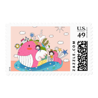 Children playing by fish in pond postage
