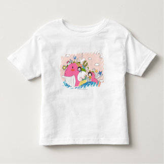 Children playing by fish in pond tee shirt
