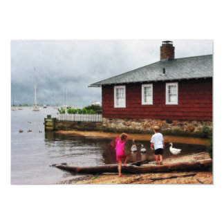 Children Playing by Harbor Essex CT Card