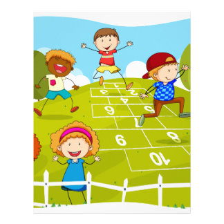Children playing hopscotch in the park letterhead
