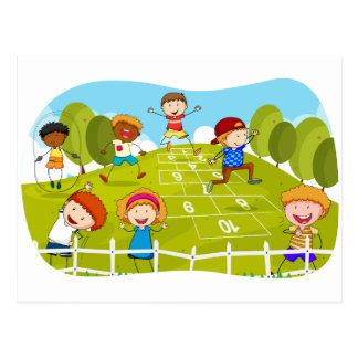 Children playing hopscotch in the park postcard