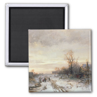 Children playing in a winter landscape magnet