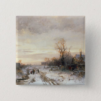 Children playing in a winter landscape pinback button