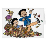 Children Playing In Leaves Greeting Card